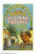 """Movie Posters:Black Films, Old Man Trouble (Columbia, 1928). One Sheet (27"""" X 41""""). A notedconcert singer, actor and composer, Jules Bledsoe, enjoyed ..."""
