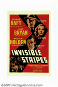 "Movie Posters:Crime, Invisible Stripes (Warner Brothers, 1939). One Sheet (27"" X 41"").Humphrey Bogart and George Raft team up for this bullet-ri..."