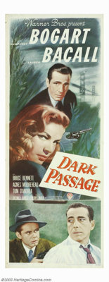 """Dark Passage (Warner Brothers, 1958). Insert (14""""X36""""). Warner Brothers once again brought the legendary teami..."""