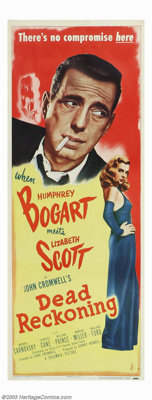 "Dead Reckoning (Columbia, 1947). Insert (14"" X 36""). Film noir mystery has hard-boiled Humphrey Bogart as a ma..."