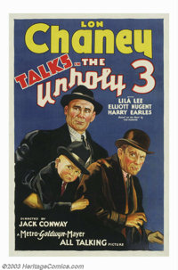"Unholy Three, The (MGM, 1930). One Sheet (27"" X 41""). Lon Chaney spoke onscreen for the one and only time in t..."