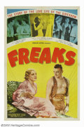 "Movie Posters:Horror, Freaks (MGM, 1949 re-release). One Sheet (27"" X 41""). This film, which actually used circus sideshow ""freaks"" in its cast, w..."