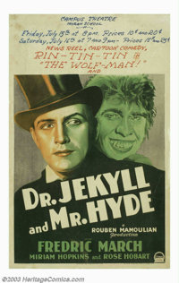 "Dr. Jekyll and Mr. Hyde (Paramount, 1931). Window Card (14"" X 22""). Still considered to be one of the finest v..."