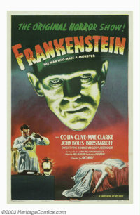 "Frankenstein (Universal, R-1947). One Sheet (27"" X 41""). What more can be said about the classic of all horror..."