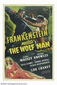 """Frankenstein Meets the Wolfman (Universal, 1943). One Sheet (27"""" X 41""""). Universal had almost exhausted plots..."""
