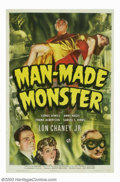 "Movie Posters:Horror, Man Made Monster (Universal, 1941). One Sheet (27"" X 41""). This Universal sci-fi horror classic, starring Lon Chaney, Jr. as..."
