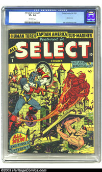 All Select Comics #1 (Timely, 1943) CGC VF+ 8.5 Off-white pages. Alex Schomburg chalks up another classic cover designat...