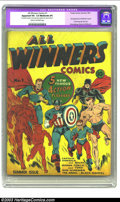 Golden Age (1938-1955):Superhero, All Winners Comics #1 (Timely, 1941) CGC Apparent VG- 3.5 Moderate (P) Cream to off-white pages. We can only imagine the sti...