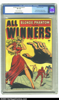 All Winners Comics V2#1 (Timely, 1948) CGC VF+ 8.5 Cream to off-white pages. Captain America, the Sub-Mariner, and the H...