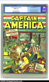 Captain America Comics #1 (Timely, 1941) CGC FN/VF 7.0 Cream to off-white pages. He wasn't the first patriotic superhero...
