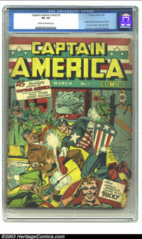 Captain America Comics #1 (Timely, 1941) CGC FR 1.0 Cream to off-white pages. This huge (in a significant way) Golden Ag...