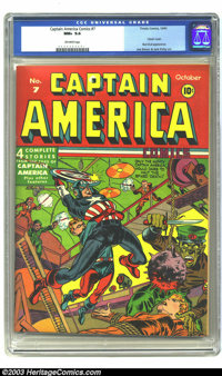 Captain America Comics #7 (Timely, 1941) CGC NM+ 9.6 Off-white pages. This outrageous copy is far and away the highest-g...