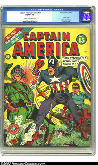 """Captain America Comics #13 (Timely, 1942) CGC FN/VF 7.0 Cream to off-white pages. Al Avison gets the """"classic""""..."""
