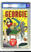 Golden Age (1938-1955):Humor, Georgie Comics #11 Mile High pedigree (Timely, 1947) CGC VF/NM 9.0 Off-white to white pages. Georgie takes a tumble on this ...
