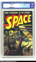 Golden Age (1938-1955):Science Fiction, Space Squadron #5 Okajima pedigree (Atlas, 1952) CGC VF- 7.5Off-white pages. This action-packed cover by Brodsky is the las...