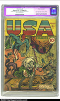 Golden Age (1938-1955):Superhero, USA Comics #1 (Timely, 1941) CGC Apparent VG- 3.5 Slight (A) Light tan to off-white pages. One of Simon and Kirby's most sta...