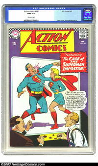 Action Comics #346 (DC, 1967) CGC NM+ 9.6 Off-white pages. Supergirl appears to be punching out Superman on this cover f...