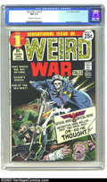 Bronze Age (1970-1979):War, Weird War Tales #1 (DC, 1971) CGC NM 9.4 Off-white to white pages. The master of DC war covers, Joe Kubert, delivers another...