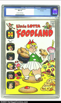 Little Lotta Foodland #1 File Copy (Harvey, 1963) CGC NM 9.4 Off-white to white pages. Little Lotta required more space...