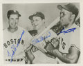 Autographs:Photos, Ted Williams, Stan Musial & Willie Mays Signed Photograph.Three of the most fearsome sluggers of the 1950's share a laugh ...