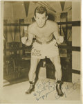 Boxing Collectibles:Autographs, 1940's Rocky Graziano Signed Photograph. The definitivephotographic portrait of this middleweight knock out artist bearsa...