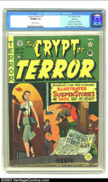 Golden Age (1938-1955):Horror, Crypt of Terror #17 River City pedigree (EC, 1950) CGC VF/NM 9.0Off-white pages. The first issue of this title (the series ...