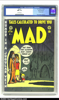 Mad #1 Gaines File pedigree 4/12 (EC, 1952) CGC NM+ 9.6 Off-white pages. The first satire comic burst onto the scene dur...