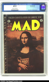 Mad #14 Gaines File pedigree 4/12 (EC, 1954) CGC NM 9.4 Off-white to white pages. On this cover, the Mona Lisa discloses...