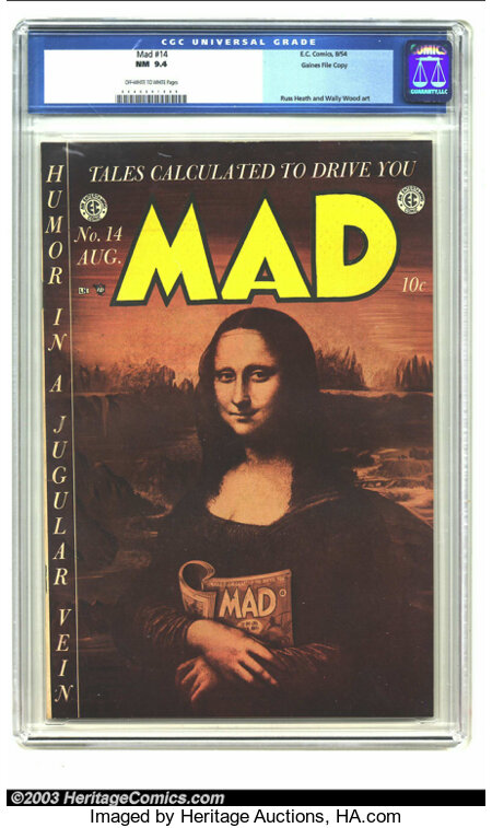 Mad #14 Gaines File pedigree 4/12 (EC, 1954) CGC NM 9.4 Off-white to white pages. On this cover, the Mona Lisa discloses the...