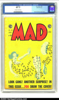 Golden Age (1938-1955):Humor, Mad #18 Gaines File pedigree 4/12 (EC, 1954) CGC NM- 9.2 Off-white to white pages. The original bright yellow of this cover ...