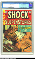 "Golden Age (1938-1955):Horror, Shock SuspenStories #12 Gaines File pedigree 3/12 (EC, 1953) CGCNM+ 9.6 White pages. ""The Monkey"", a classic junkie story, ..."