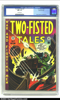 Two-Fisted Tales #27 Gaines File pedigree 3/10 (EC, 1952) CGC NM+ 9.6 Off-white pages. The Harvey Kurtzman cover employs...