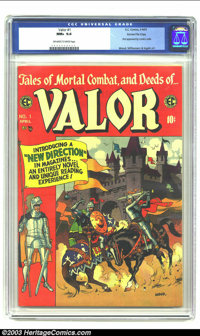 "Valor #1 Gaines File pedigree 8/12 (EC, 1955) CGC NM+ 9.6 Off-white to white pages. This ""New Direction"" premi..."