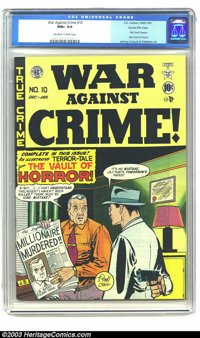 War Against Crime #10 Gaines File pedigree 4/11 (EC, 1949) CGC NM+ 9.6 Off-white to white pages. The title's content cha...