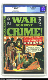 War Against Crime #11 Gaines File pedigree 8/11 (EC, 1950) CGC NM+ 9.6 Off-white to white pages. Johnny Craig draws the...