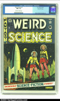 Golden Age (1938-1955):Science Fiction, Weird Science #7 Gaines File pedigree 8/10 (EC, 1951) CGC NM+ 9.6Off-white to white pages. One of the first covers that com...