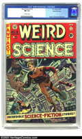 Golden Age (1938-1955):Science Fiction, Weird Science #12 Gaines File pedigree 8/11 (EC, 1952) CGC NM 9.4Off-white pages. Wally Wood gives us a fun zero-G cover on...