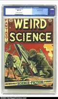 Golden Age (1938-1955):Science Fiction, Weird Science #15 Gaines File pedigree 10/12 (EC, 1952) CGC NM 9.4Off-white to white pages. Ya gotta love dinosaurs and roc...