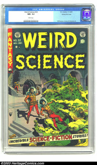 Weird Science #22 Gaines File pedigree (EC, 1953) CGC NM- 9.2 White pages. It's the Wally Wood Show, with the stylish ar...