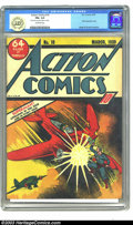 Golden Age (1938-1955):Superhero, Action Comics #10 (DC, 1939) CGC FN+ 6.5 Off-white pages. You want an early Superman cover? Well, here's a nice unrestored c...