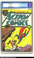 Golden Age (1938-1955):Superhero, Action Comics #38 (DC, 1941) CGC NM- 9.2 Off-white to white pages. If you're a purveyor of Golden Age comic books, you simpl...