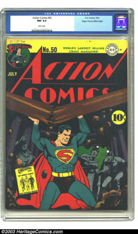 Action Comics #50 Mile High pedigree (DC, 1942) CGC NM 9.4 White pages. One glimpse of this blinding book and you will k...