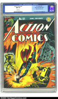 Golden Age (1938-1955):Superhero, Action Comics #61 Mile High pedigree (DC, 1943) CGC NM 9.4 Whitepages. This historic atomic radiation cover has got to be o...