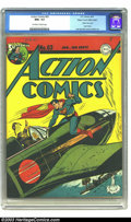 Golden Age (1938-1955):Superhero, Action Comics #63 Mile High pedigree (DC, 1943) CGC NM+ 9.6Off-white to white pages. This Superman war cover shows what all...