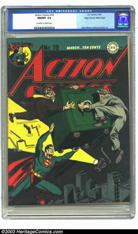 Action Comics #70 Mile High pedigree (DC, 1944) NM/MT 9.8 Off-white to white pages. Edgar Church's copy of Action #70 is...