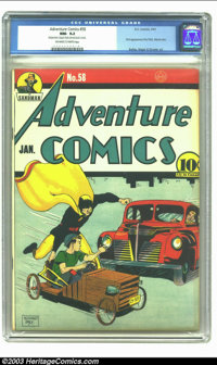 Adventure Comics #58 (DC, 1941) CGC NM- 9.2 Off-white to white pages. Cover artist Bernard Baily was one of the most dur...