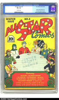 All Star Comics #3 (DC, 1940) CGC FN+ 6.5 Off-white pages. This is a Big One! With the origin and first appearance of th...