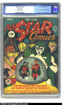 All Star Comics #8 (DC, 1942) CGC FN+ 6.5 Slightly brittle pages. After the origin issue of the JSA itself (issue #3), t...