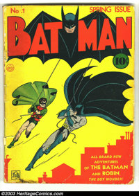 Batman #1 (DC, 1940) Condition: FR. If you are looking for a low-grade, affordable copy of this major DC key, here it is...