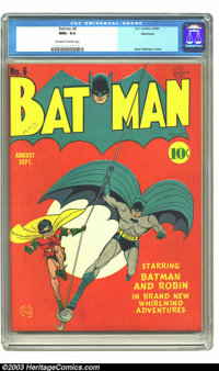 Batman #6 Allentown pedigree (DC, 1941) CGC NM+ 9.6 Off-white to white pages. It's not clear to us why this simple, stri...